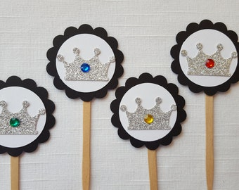 Medieval Knight Silver Crown Cupcake Toppers, Set of 12, Royal Prince Baby Shower, King Birthday Decoration, Prince First Birthday Party