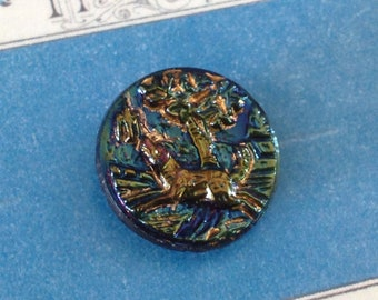 """Vintage Molded Pictorial Black Glass Button with Iridescent Luster Finish 3/4th"""" Dog and Tree"""