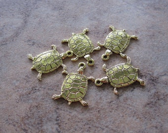 5 Stampt Antiqued Gold (plated) Tiny Turtle Charm - 12.5 x 17mm - JD174