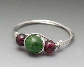 Chrome Diopside & Garnet Sterling Silver Wire Wrapped Ring - Made to Order, Ships Fast!