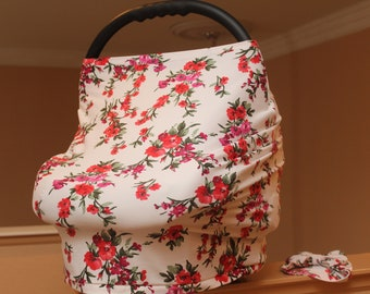 Stretchy baby Car Seat Canopy Cover, 360 Breastfeeding Nursing Cover.