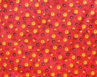 Vintage Cotton Fabric - Small Print Floral - Red Calico Fabric with Yellow and Black Flowers - Quilting Fabric
