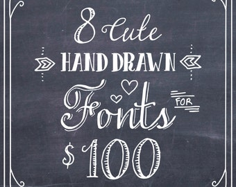 8 FONT BUNDLE // Sale Discount Deal // Hand Drawn French Whimsical // Calligraphy Font // Digital Download True type TTF // Commercial Use