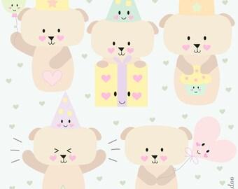 Kawaii Dog Clip Art - Kawaii Clipart - Birthday Clipart - Cute Puppy Birthday Clipart  -  For Personal and Commercial Use - Instant Download