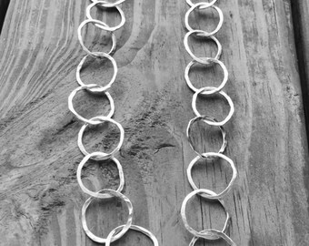 """Long Silver Necklace, Hammered Silver Hoops, Argentium Silver Chain, 32"""""""