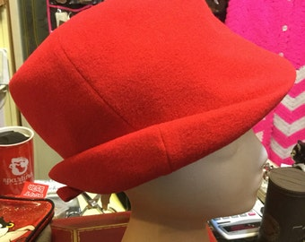 Red wool Lord and Taylor hat