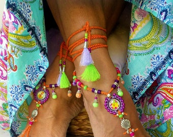 Barefoot N 240 bright lime and orange feet jewelry