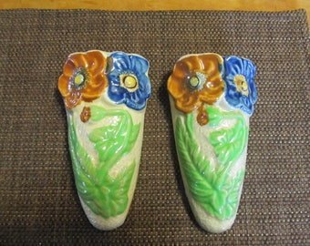 2 Vintage Flower Wall Pockets Made in Japan