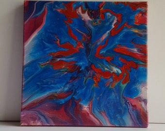 Red vs. Blue Burst: Blue Wins! 10x10 Original Acrylic Pour Painting Wall Art