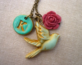 Dove and Letter Necklace - Personalized Gift for Women - Monogram Necklace - Bird Letter