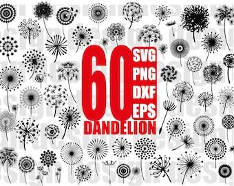 DANDELION SVG, dandelion clipart, dandelion silhouette, flower svg, floral svg, flower clipart, floral clipart, cut file , stencil, vinyl