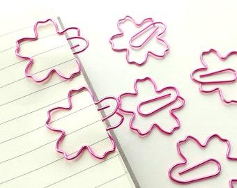 Set of 2 Sakura flower paper clips - metallic pink