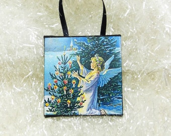 Victorian Angel with Woodland Lighted Tree, Vintage Postcard Christmas Ornament