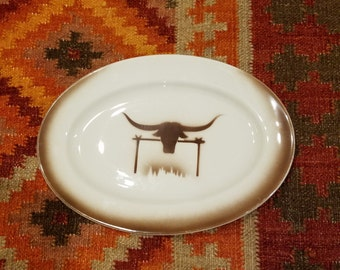 Original Western Sizzler Steak House Longhorn Cow Advertising Platter by Embassy Vitrified China