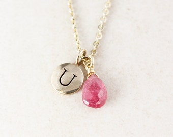 Pink Sapphire Initial Necklace - Charm Necklace