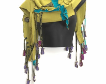 The Ebb and Flow of Letting Go -  Sculpted Art Scarf, OOAK Reconstructed