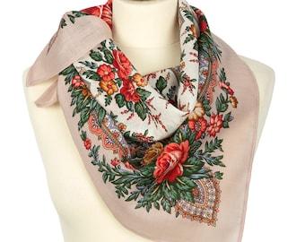 PAVLOVO POSAD SHAWL 100% Wool Russian Platok Kerchief Square Scarf Women's Wrap 72x72cm Cape Pashmina Headband Wrap Birthday Gift 1756-2