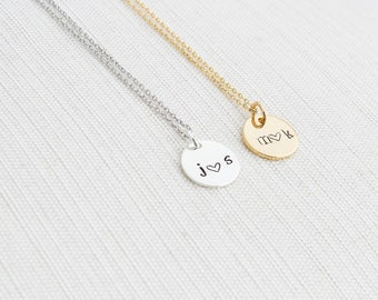 Initials Necklace, Disc Necklace, Couple Necklace, Personalised Jewellery, Gift