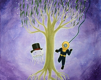 """You Jelly? 20""""x24"""" ORIGINAL acrylic painting by Marcia Furman - Jelly Fish with Top Hat and Deep Sea Diver Meeting"""