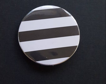 Black and White Stripe Pin-Back Button-2.25 Inch