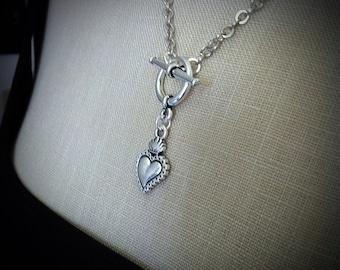 Toggle coeur collier Ex Voto, Milagros, sacré-coeur collier, Flaming Corazon coeur argent, pendentif Sagrado, Style de tatouage