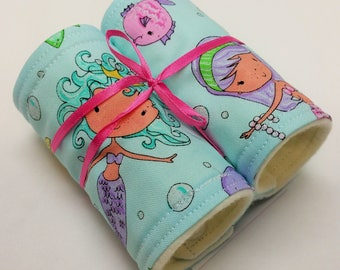 Car Seat Strap Cover, Newborn Infant, Padded Carrier Strap Covers, Mermaid, Nautical, Blue, Handmade