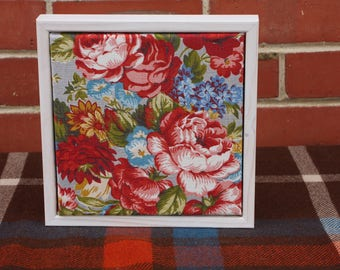 Vintage Floral Fabric in a Whitewashed Frame #2
