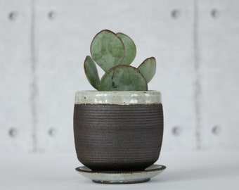 Small Succulent Planter with Drainage and Saucer,  Pottery Pot with line Texture made of Stoneware, Mini  Ceramic Pot and Saucer,