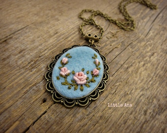 Rose Garden Necklace - Blue and Pink - Hand embroidered roses, pendant, romantic necklace