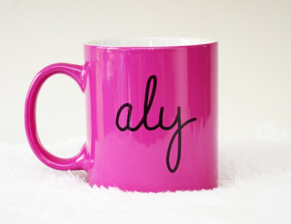 Custom Name 11oz Pink Coffee Mug, Free Shipping