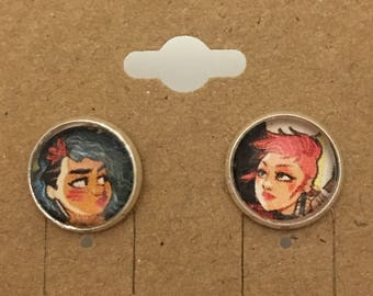 Recycled Comic Book inspired earrings Jem and the Holigrams