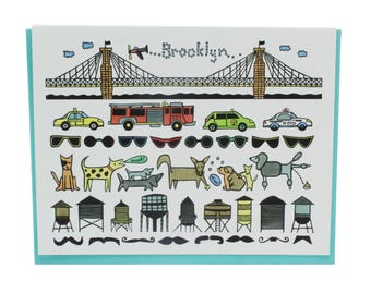 Brooklyn greeting card, Brooklyn bridge card, New York taxi card, Brooklyn hipster, moustache card, water towers, yellow cab, NYPD FDNY card