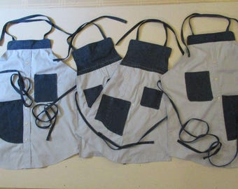 Handmade Four Apron Set for the Whole Family-Upcycled from a Man's Shirt