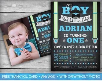 Little Man Invitation | Little Man Invite | First Birthday Invitation | Mustache Invitation | Mustache Invite | Boy | Bow Tie | Chalkboard