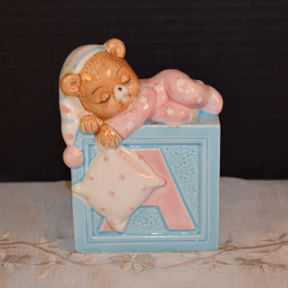 Lefton Baby Bear ABCD Planter Vintage 1984 Geo Lefton China Teddy Bear on Top ABCD Block in Pink & Blue Baby Shower Gift Lefton Collectible