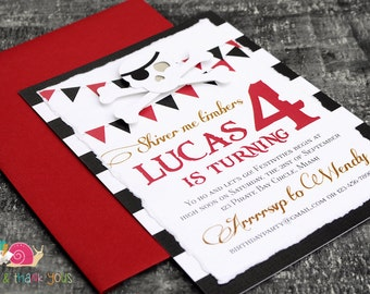 Pirate Invitations · A6 LAYERED · Red and Black · Birthday Party   Skull and Crossbones   Hand Torn