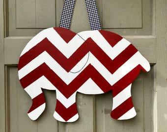 Custom hand painted university of Alabama crimson and white chevron elephant