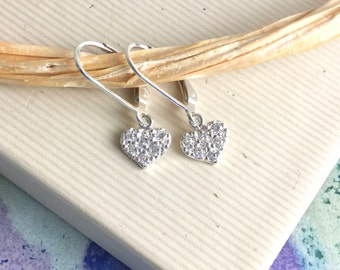 Cubic zirconia pave heart earrings, all sterling silver, lever back, CZ 925 silver jewelry E231