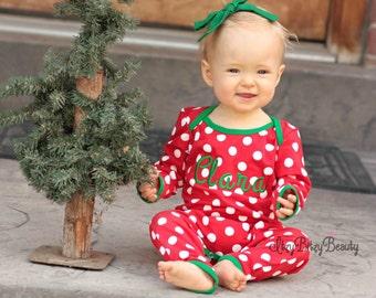 Girls Polka Dot Polkadot Christmas Pajamas Full  One Piece Pants Set Red White Green Trim Personalized Monogrammed Newborn Baby