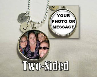 25mm TWO-SIDED Photo and Initial Pendant Necklace, Bridesmaid Necklace, Personalized Necklace, Charm Necklace, Monogram necklace