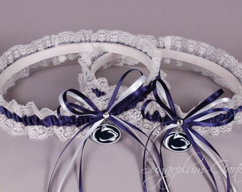 Penn State University Nittany Lions Lace Wedding Garter Set