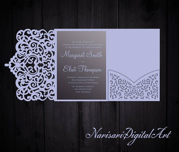 tri fold ornamental 5x7 wedding invitation pocket envelope svg. Black Bedroom Furniture Sets. Home Design Ideas