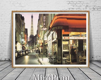Paris Photography, Travel Poster, Paris Print, Paris Street Wall Decor, Art Photography, Paris Photo, Eiffel Tower Print, Modern Wall Art