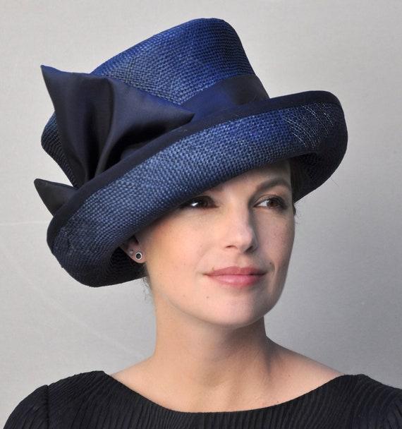 Women's Navy Straw Hat, Church Hat, Wedding Hat, Ladies Navy Hat, Mad Hatter, Formal Hat, Tailored Hat