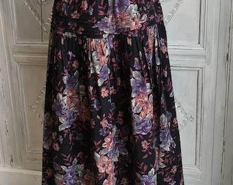 Vintage Laura Ashley Skirt - 1980s Dark Florals Size 10 - Boho/Geek