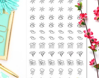 Weather Stickers • Bullet Journal  Stickers • Planner Stickers • Weather Icon Stickers • Weather Labels • Sun • Cloud • Rain • Snow