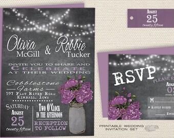 Mason Jar Wedding Invitation, Printable Rustic Chalkboard Wedding Invitation, Country Barn Wedding Invite W/ String Lights, Purple Peony DIY
