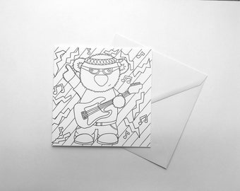 Rock Star Bear Colour Your Own Greetings Card