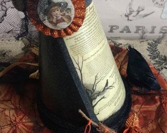 THE RAVEN Witches Hat, The Raven Poem, Halloween Witch Hat Decoration, Edgar Allen Poe theme, Halloween Decor