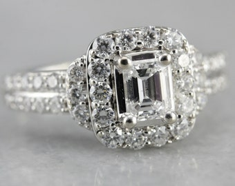Diamond Engagement Ring, Emerald Cut Diamond, Modern Engagement White Gold and Diamond 4LXMYJ7X-C